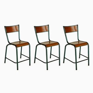Sedie industriali vintage di Jean Prouvé, set di 3