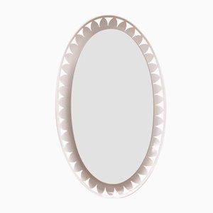Specchio ovale illuminato di Ernest Igl per Hillebrand, anni '70