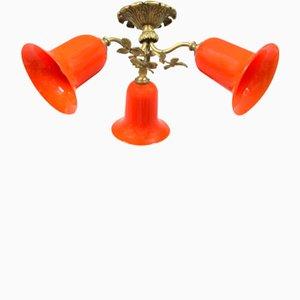 Lámpara de techo francesa con tulipas de cristal de Loetz, años 10