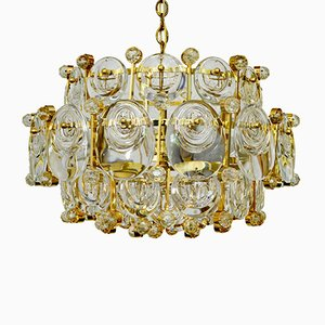 Gilded Brass & Crystal Glass Chandelier from Palwa, 1960s