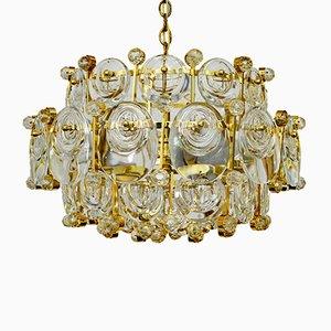 Lámpara de araña de latón dorado y cristal de Palwa, años 60