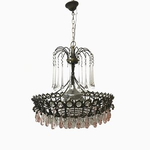 Vintage Italian Murano Glass & Crystal Waterfall Chandelier