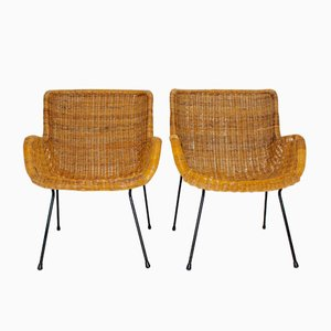 Italian Wicker Armchairs, 1950s, Set of 2