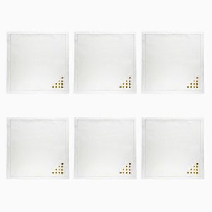 Pois Gold Napkins by The NapKing for Bellavia Ricami SPA, Set of 6