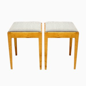 Swedish Birch Stools, 1940s, Set of 2
