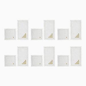 Pois Gold Cocktail Napkin & Coaster Set by The NapKing for Bellavia Ricami SPA, Set of 12