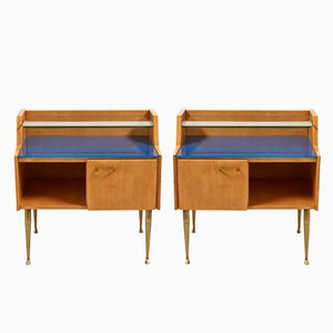 Italian Bedside Tables on Brass Legs, 1950s, Set of 2