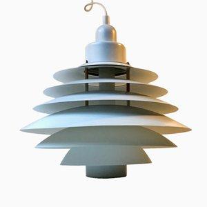 Dänische weiße abgestufte vintage Hängeleuchte von Design-Light, 1970er