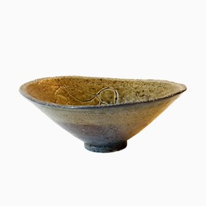 Vintage Modernist Stoneware Bowl with Abstract Motif, 1950s