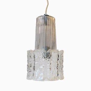 Lampe à Suspension Vintage en Verre Givré de Glashütte Limburg, 1960s