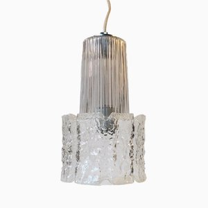 Vintage Ice Glass Pendant Lamp from Glashütte Limburg, 1960s