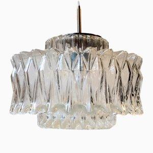 Lámpara colgante vintage en forma de estrella de vidrio de Glashütte Limburg, años 60