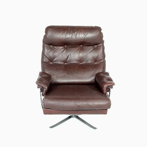 Vintage Red-Brown Leather & Chrome Lounge Chair by Arne Norell for Vatne