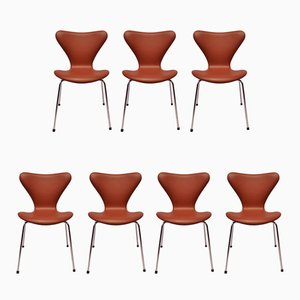 Model 3107 Cognac-Colored Savanne Leather Chairs by Arne Jacobsen for Fritz Hansen, 1970s, Set of 7