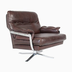Vintage Leather & Chrome Lounge Chair by Arne Norell for Vatne