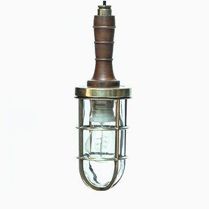 Vintage Wood & Brass Hand Lamp, 1950s