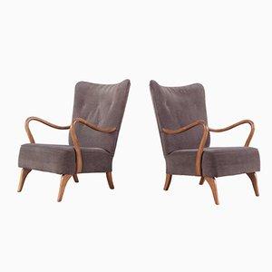 Mahogany Easy Chairs, 1950s, Set of 2