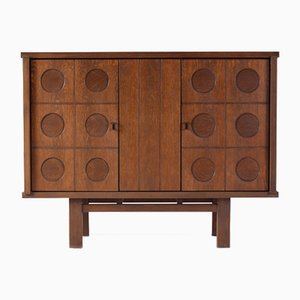 Vintage Belgian Brutalist Oak Cabinet