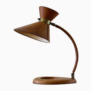 Lámpara de mesa de cuero, años 50