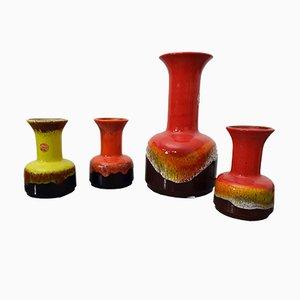 Jarrones de cerámica Fat Lava de Jasba, años 70. Juego de 4