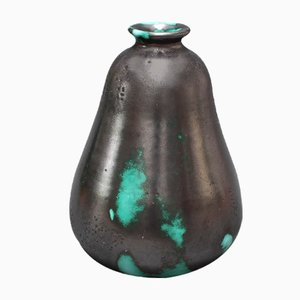 French Black & Green Ceramic Vase by Primavera for C. A. B., 1930s