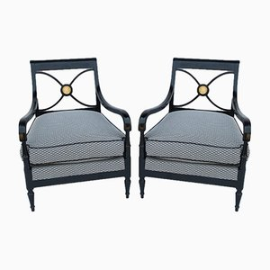 Black Lacquered Armchairs from Maison Jansen, 1940s, Set of 2