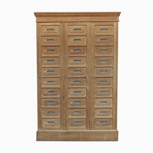 Antique French Solid Oak Filing Cabinet with 3 Doors