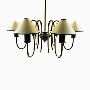 French Brass Chandelier, 1950s
