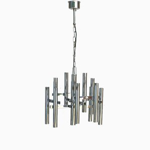 Belgian Chromed Tube Chandelier, 1970s