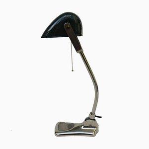 Antike verchromte Jugendstil Bankier Lampe von Lux