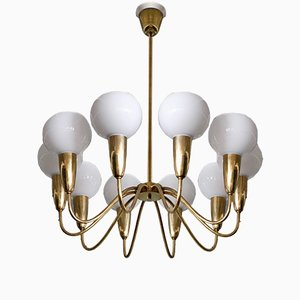 Swedish Brass Chandelier, 1950s