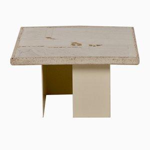Mesa de centro pequeña en blanco de mármol de Paul Kingma, años 80