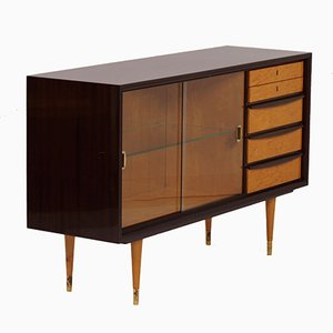 Mahogany Sideboard with Showcase & Brass Details, 1960s