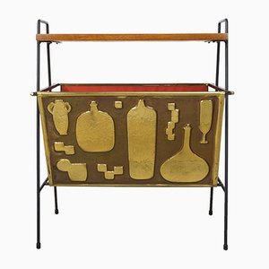 Magazine Rack in Copper, Metal, & Teak, 1950s