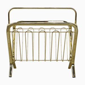 Vintage Magazine Rack in Golden Brass