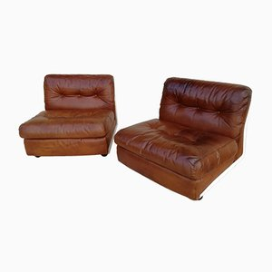 Vintage Amanta Brown Leather Lounge Chairs by Mario Bellini for C&B Italia, Set of 2