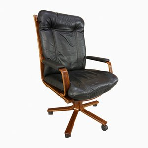 Swivel Office Chair in Leather & Wood