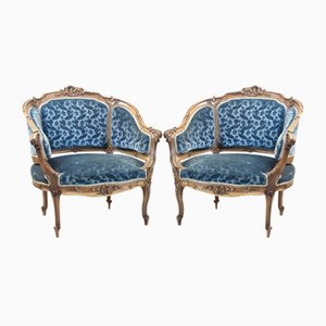Antique Corbeille-Shaped Bergere Lounge Chairs, Set of 2
