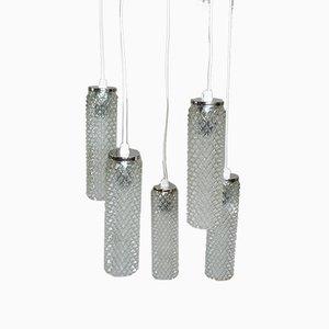 Deckenlampe mit 5 Glas Schirmen, 1970er