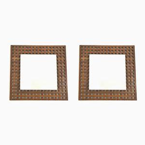 Italian Square Walnut Wall Mirrors, 1960s, Set of 2