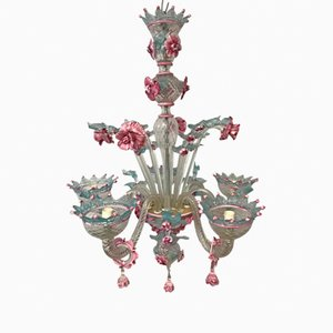 Vintage Pastel Flower Murano Glass Chandelier