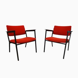 Red Fabric, Wood, & Steel Armchairs, 1960s, Set of 2
