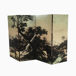 Italian Folding Screen with Bucolic Transfer-Painting, 1950s