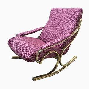 Sedia a dondolo in ottone, Italia, anni '70