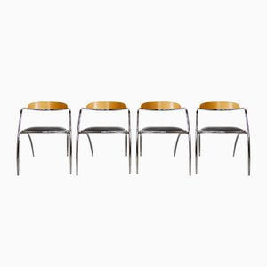 Italian Chrome & Wood Chairs, 1980s, Set of 4