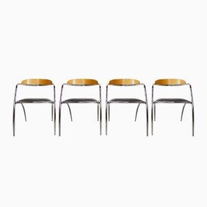 Italienische Chrom & Holz Stühle, 1980er, 4er Set