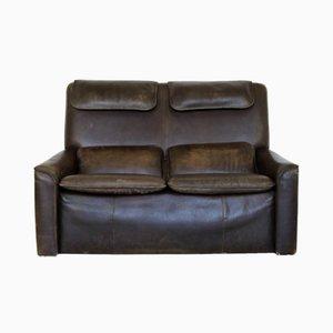 Sofá de dos plazas de cuero marrón, años 70
