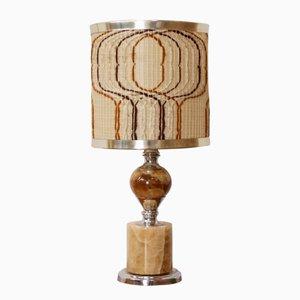Lampada vintage in metallo cromato ed onice