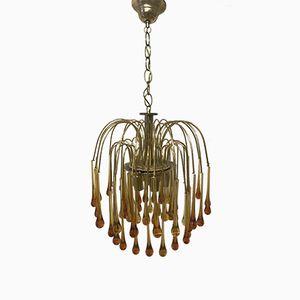 Lámpara de araña en cascada Mid-Century de cristal de Murano