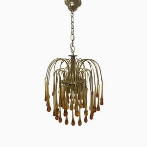 Mid-Century Murano Glass Waterfall Chandelier